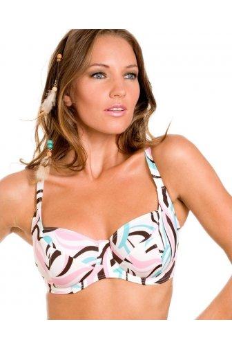 95d1e88a04934 Multi-Coloured Swirl Print Underwired White Bikini Top
