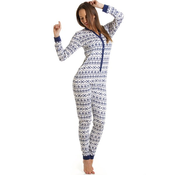 Womens Ladies All In One Jersey Navy And White Fair Isle