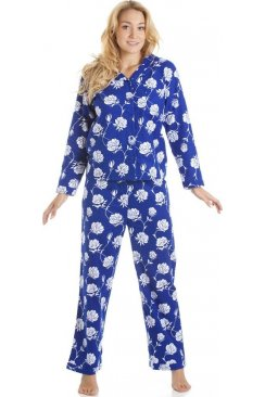 Navy Blue And White Floral Print Wincy Full Length Pyjama Set