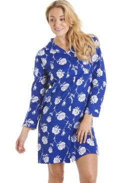 Navy Blue And White Floral Wincy Button Up Nightshirt