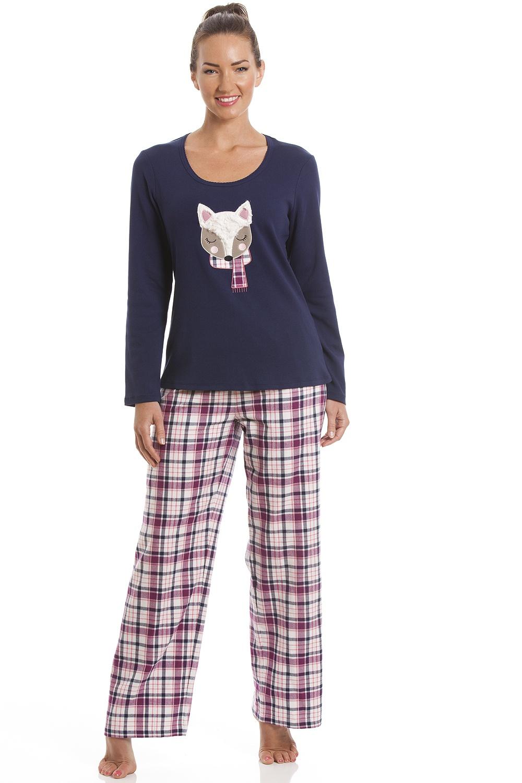 Camille Navy Blue Checkered Fox Motif Pyjama Set bb5839417