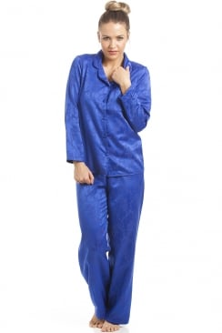 Navy Blue Floral Print Satin Pyjama Set