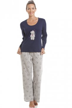 Navy Blue Teddy Motif Pyjama Set
