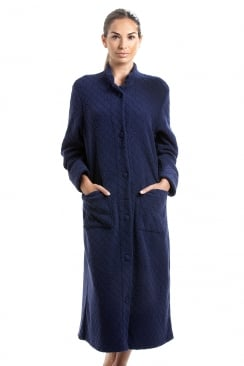 Navy Soft Fleece Floral Full Length Button Up Housecoat