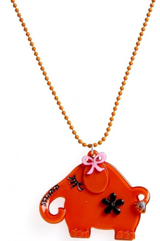 Camille Orange Elephant Design Necklace