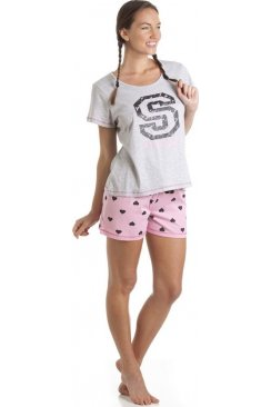 Pink And Grey Print Short Leg Pyjama Set