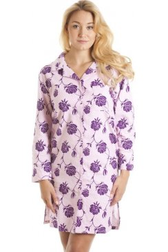 Pink And Purple Floral Wincy Button Up Nightshirt
