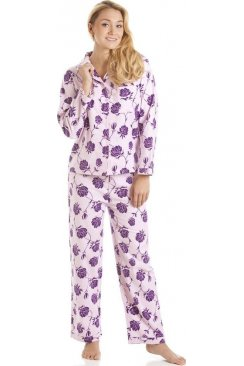 Pink And Purple Floral Wincy Full Length Pyjama Set