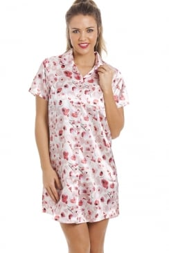 Pink And Red Floral Print Knee Length Ivory Satin Nightshirt