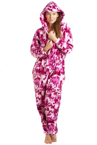 Pink And White Abstract Hooded Fleece All In One Onesie