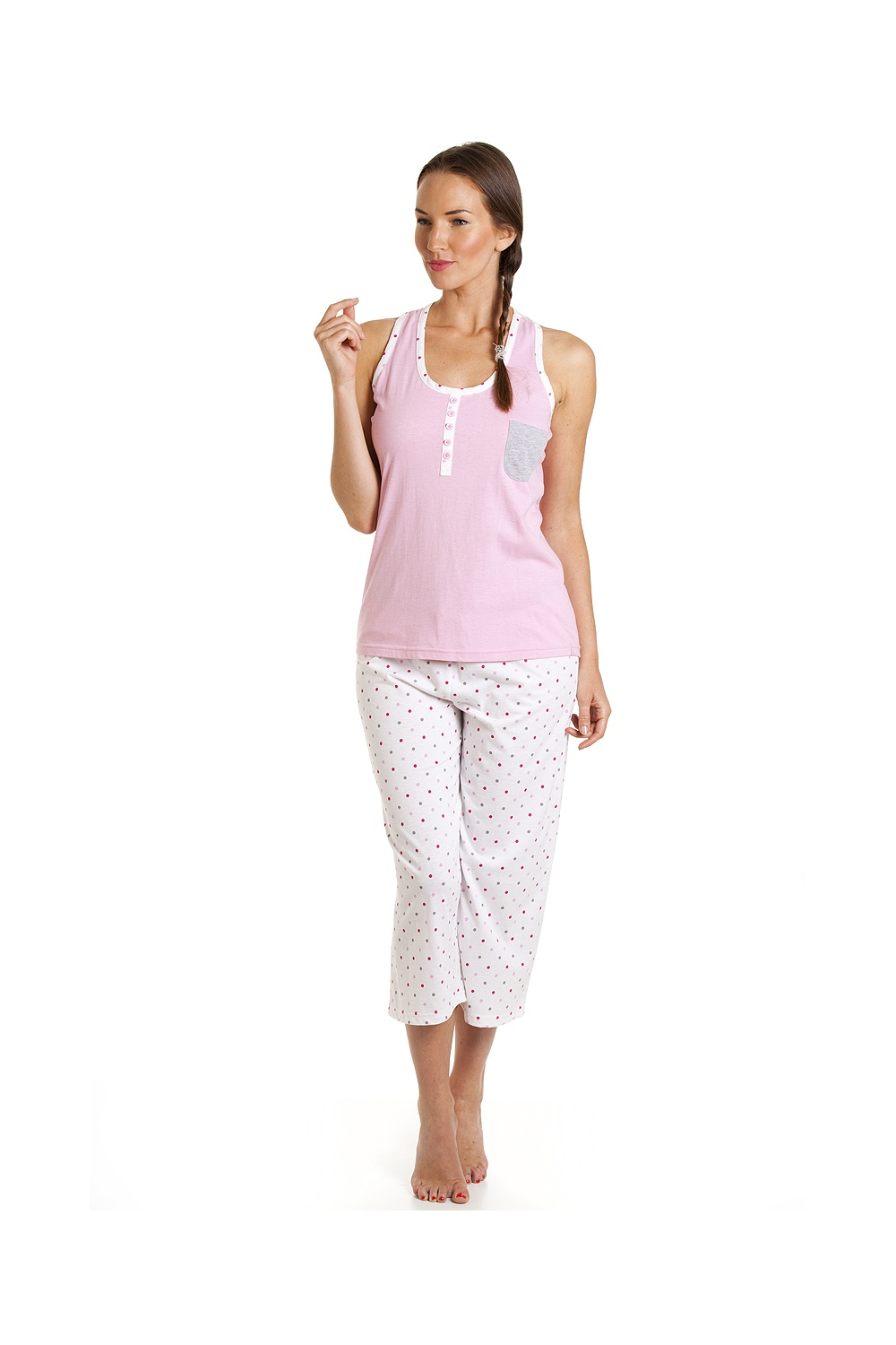 6b1c9fc4523 Camille Pink And White Polka Dot Cropped Pyjama Set