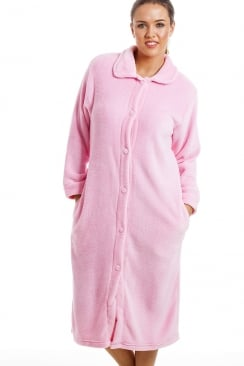 Pink Button Up Front Long Fleece Housecoat