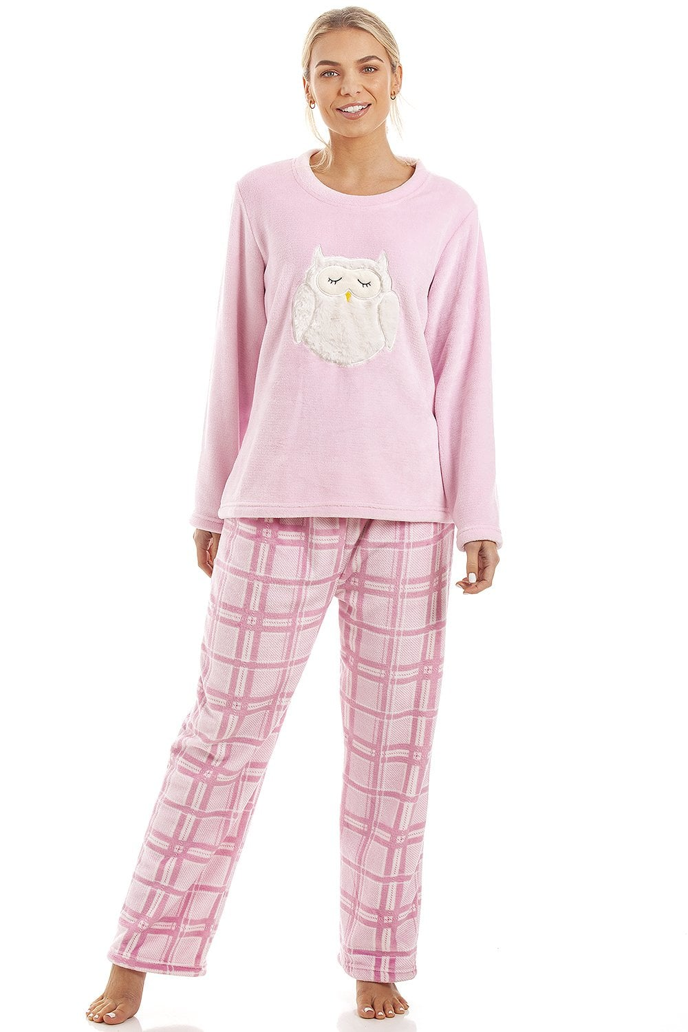 2019 factory price enjoy free shipping new release Pink Checkered Supersoft Fleece Owl Character Pyjama Set