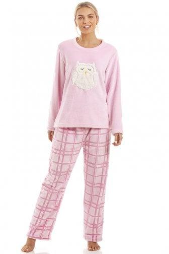 0d9c1e8e9b142 Pink Checkered Supersoft Fleece Owl Character Pyjama Set