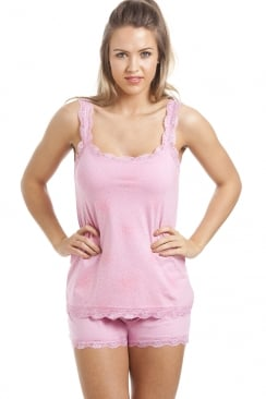Pink Cotton Short And Vest Pyjama Set