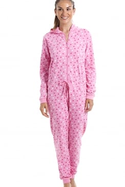 Pink Cotton Star Print Hooded All In One Onesie