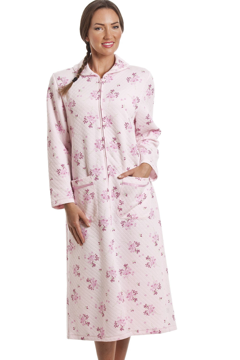 Pink Floral Print Zip Up Quilted Housecoat