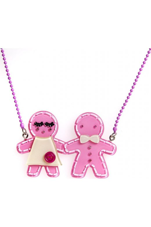 Camille Pink Gingerbread Design Necklace