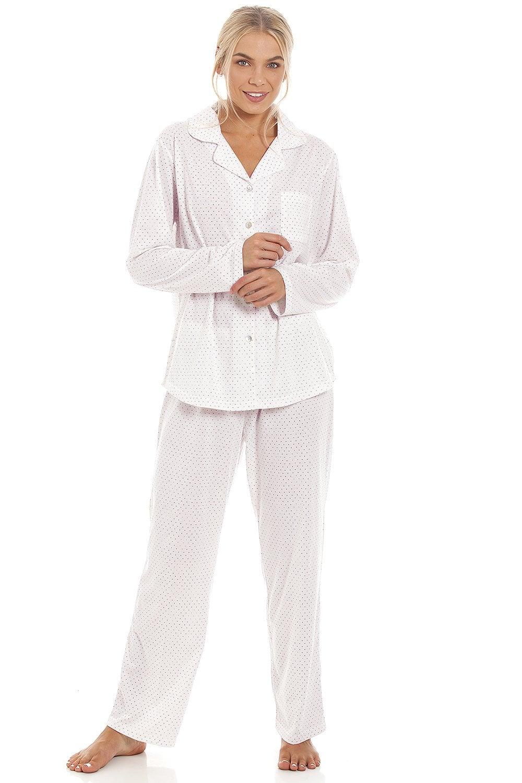 Camille Womens Nightwear Grey Dot Long Sleeve Polycotton Lightweight Nightdress