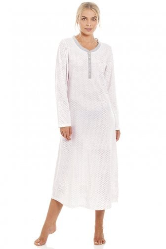 30d3045359 Pink   Grey Pin Dot Long Sleeve Polycotton Nightdress