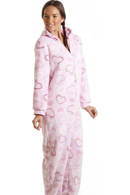 Pink Heart Fleece Hooded All In One Onesie