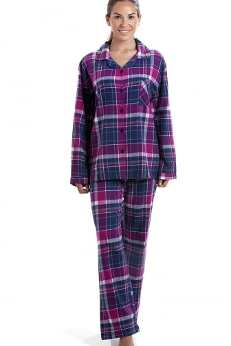 Pink & Navy Checkered Full Length Button Front Wincy Pyjama Set