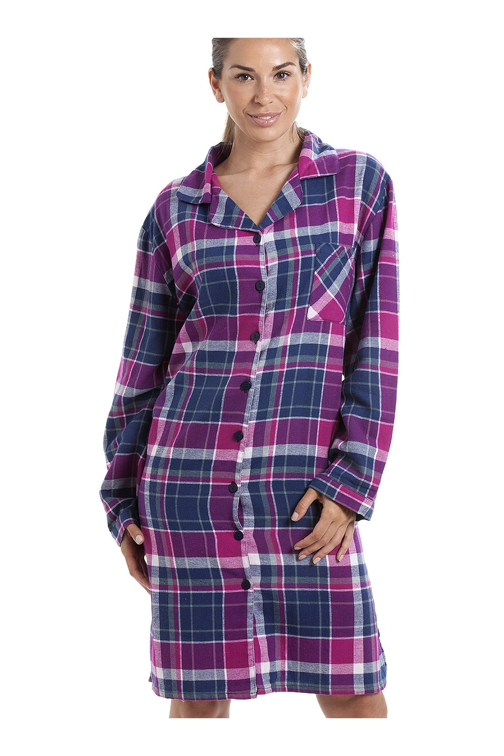 Camille Pink  amp  Navy Checkered Long Sleeve Button Front Wincy Nightshirt d3644515e