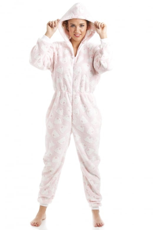 Pink Super Soft Fleece Knitted In Bear Design Hooded Onesie
