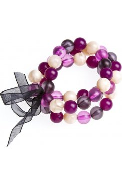Womens Ladies Fashion Jewellery Purple And Cream 3 String Bead Adjustable Stretchy bracelet Bangle