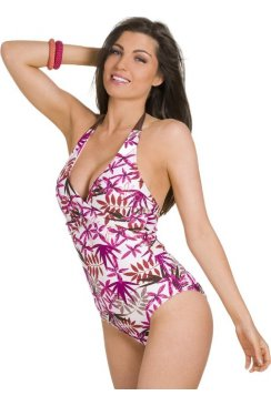 Luxury Tropicana Brown And Pink Halterneck Swimsuit