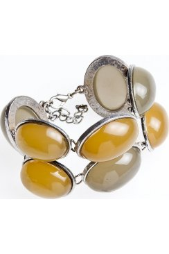 Womens Ladies Chunky Half Bead Silver Plated Bracelet With Grey And Yellow Beads