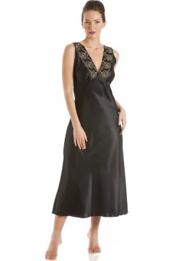Black With Gold Embroidery Satin Chemise