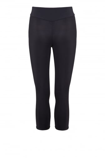 Proskins Black Cropped Length Capri High Tech Fabric Leggings