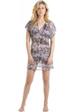 Purple Abstract Print Kaftan