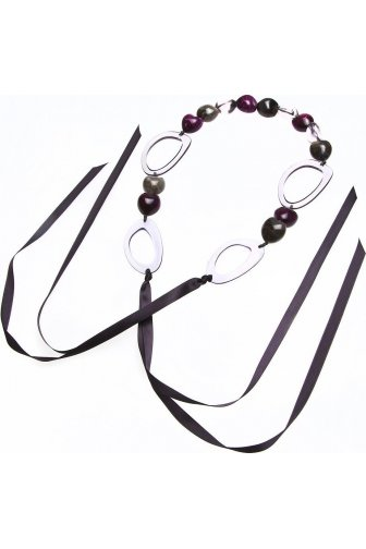 Purple Bead And Grey Hoop Ribbon Necklace