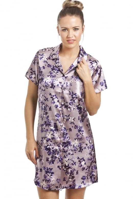Camille Purple Floral Print Knee Length Lilac Satin Nightshirt