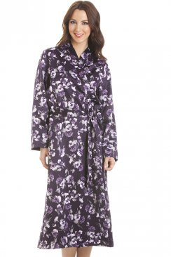 Purple Floral Print Long Satin Wrap