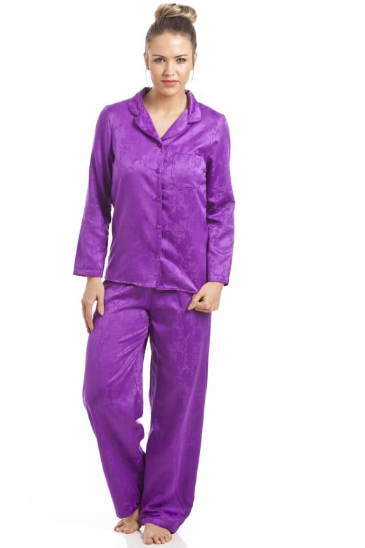 Purple Floral Print Satin Pyjama Set