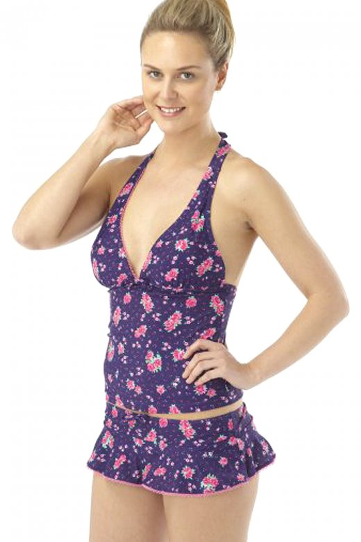 Purple Floral Print Tankini Set