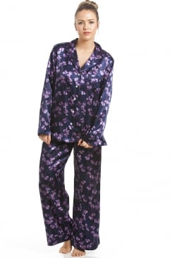 Purple Floral Satin Pyjama Set