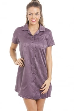 Purple Soft Cotton Mix Jaquard Satin Nightshirt