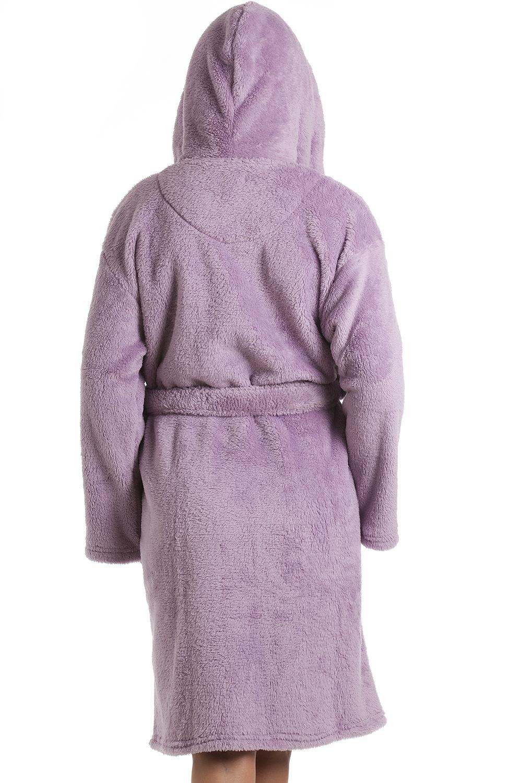Purple Supersoft Hooded Fleece Bathrobe
