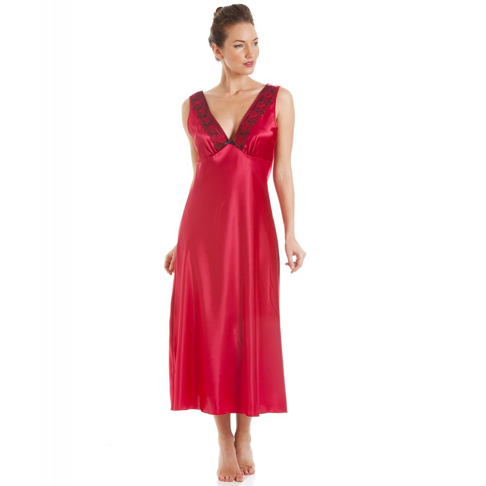 Red With Black Embroidery Satin Chemise