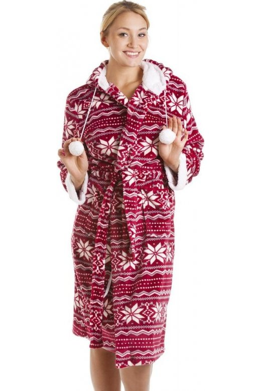 Red And White Nordic Soft Silk Touch Robe