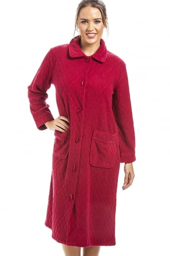 Red Floral Print Jacquard Fleece Button Front Housecoat