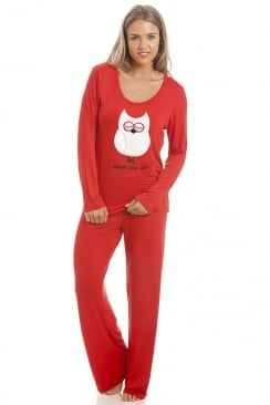 Red Full Length Pyjama Set With White Owl Motif