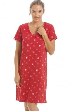 Red Heart Print Cotton Nightdress