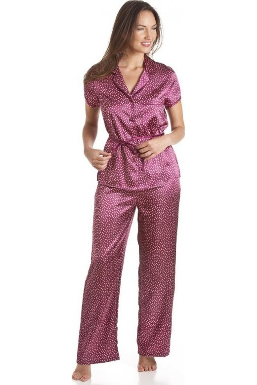 Camille Red Polka Dot Tie Belt Satin Pyjama Set