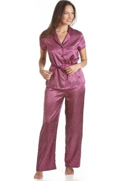 Red Polka Dot Tie Belt Satin Pyjama Set
