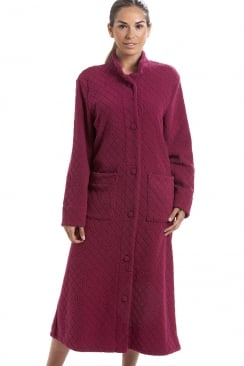 Red Soft Fleece Floral Full Length Button Up Housecoat